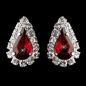 Silver Ruby & Clear Teardrop Stud Earrings 1361
