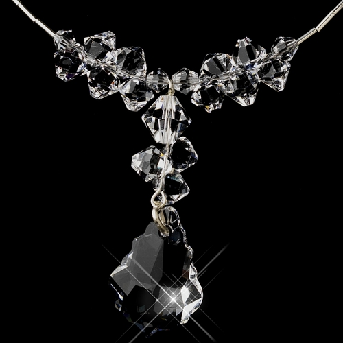 Silver Clear Swarovski Crystal Bead Necklace 6710