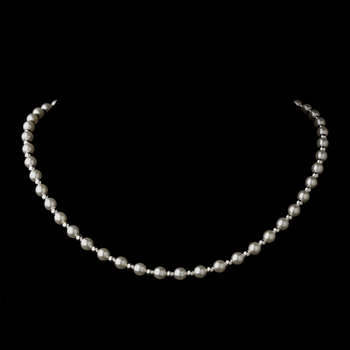 Silver White Czech Glass Pearl Necklace 6803