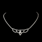Silver Clear Round & Marquise Rhinestone Necklace 7011-2