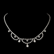 Silver Clear Teardrop Rhinestone Necklace 7011-3