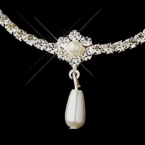 Silver White Pearl & Clear Round Rhinestone Necklace 7026