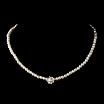 Silver White Pearl & Clear Rhinestone Necklace 7202