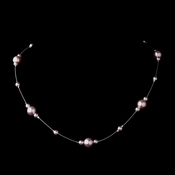 Silver Light Amethyst Pearl Illusion Necklace 8601