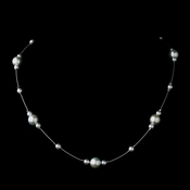 Silver Light Blue Pearl Illusion Necklace 8601