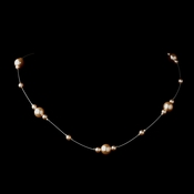 Silver Pink Pearl Illusion Necklace 8601