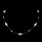 Silver White Pearl Illusion Necklace 8601