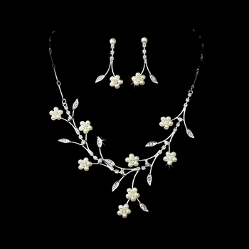 Necklace Earring Set 142 Silver Ivory