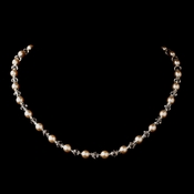 Silver Pink Czech Glass Pearl and Bead & Swarovski Crystal Bead Necklace 8657