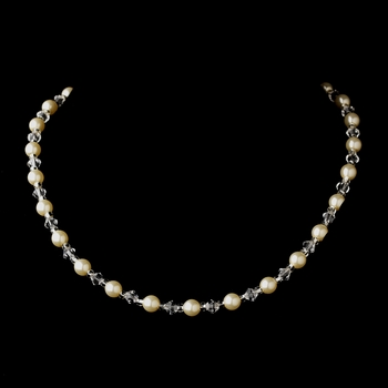 Silver Ivory Czech Glass Pearl and Bead & Swarovski Crystal Bead Necklace 8657