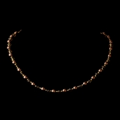 Gold Brown Czech Glass Pearl and Bead & Swarovski Crystal Bead Necklace 8657