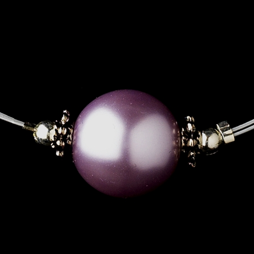 Silver Light Amethyst Czech Glass Pearl & Bali Bead Illusion Necklace 8662
