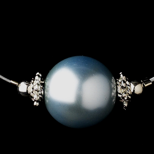 Silver Light Blue Czech Glass Pearl & Bali Bead Illusion Necklace 8662