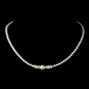 Silver White Czech Glass Pearl & Rhinestone Rondelle Necklace 8664