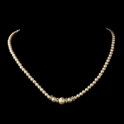 Gold Ivory Czech Glass Pearl & Rhinestone Rondelle Necklace 8664
