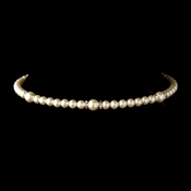 Gold Ivory Czech Glass Pearl & Rhinestone Rondelle Choker Necklace 8667