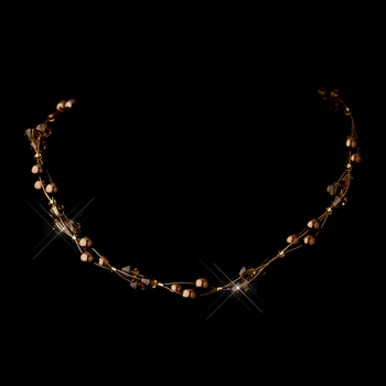Gold Brown Czech Glass Pearl & Swarovski Crystal Bead Multiweave Illusion Necklace 8672