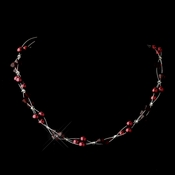 Silver Burgundy Czech Glass Pearl & Swarovski Crystal Bead Multiweave Illusion Necklace 8672