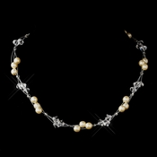 Silver Ivory Czech Glass Pearl & Swarovski Crystal Bead Multiweave Illusion Necklace 8672