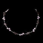 Silver Light Amethyst Czech Glass Pearl & Swarovski Crystal Bead Multiweave Illusion Necklace 8672