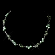 Silver Peridot Czech Glass Pearl & Swarovski Crystal Bead Multiweave Illusion Necklace 8672