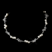 Silver White Czech Glass Pearl & Swarovski Crystal Bead Multiweave Illusion Necklace 8672