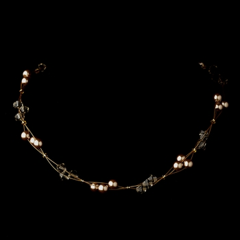 Gold Light Brown Czech Glass Pearl & Swarovski Crystal Bead Multiweave Illusion Necklace 8672