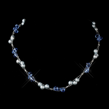 Silver Light Blue Czech Glass Pearl & Swarovski Crystal Bead Multiweave Illusion Necklace 8672