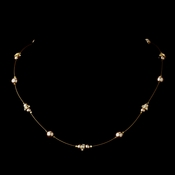 Gold Light Brown Czech Glass Pearl & Clear Rhinestone Rondelle Necklace 8805