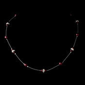 Silver Burgundy Czech Glass Pearl & Clear Rhinestone Rondelle Necklace 8805