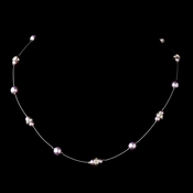 Silver Light Amethyst Czech Glass Pearl & Clear Rhinestone Rondelle Necklace 8805