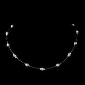Silver Light Peridot Czech Glass Pearl & Clear Rhinestone Rondelle Necklace 8805