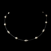 Silver White Czech Glass Pearl & Clear Rhinestone Rondelle Necklace 8805