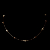 Gold Brown Czech Glass Pearl & Clear Rhinestone Rondelle Necklace 8805