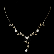 Gold Clear CZ Teardrop Vine Necklace 0116