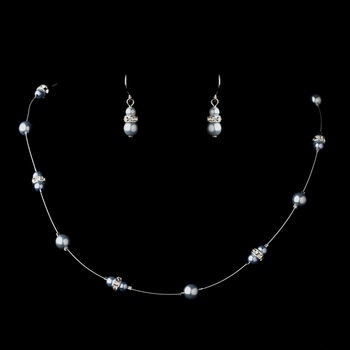 Silver Light Blue Czech Glass Pearl & Clear Rhinestone Rondelle Necklace 8805