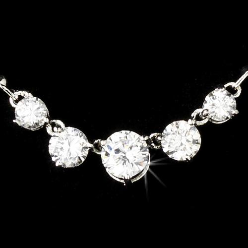 5 Stone Silver Cubic Zirconia Necklace N2456
