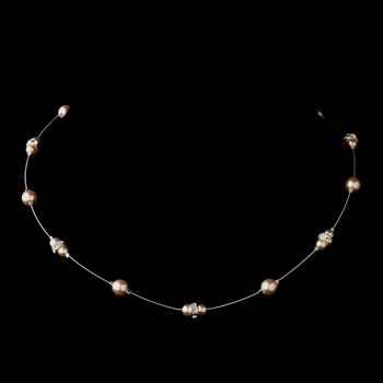 Silver Light Pink Czech Glass Pearl & Clear Rhinestone Rondelle Necklace 8805
