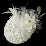 Extraordinary Ivory Flower & Feather Hat Headpiece Comb 909
