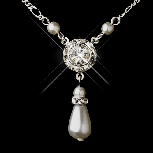 Silver White Glass Pearl & Clear Rhinestone Drop Necklace 8827