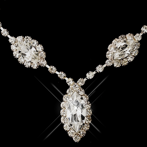 Silver Clear Marquise Rhinestone Necklace 8874