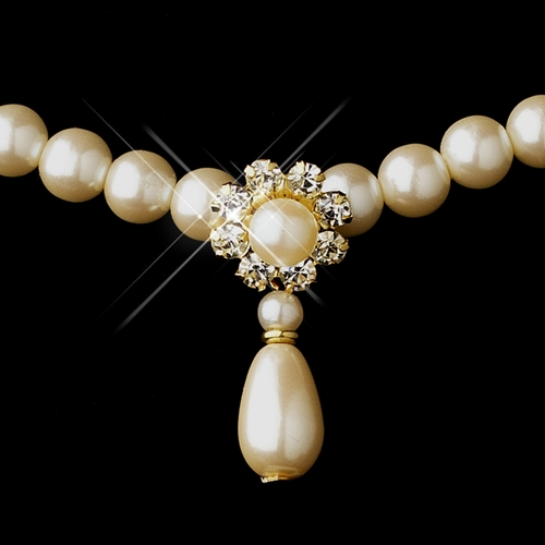 Gold Ivory Glass Pearl & Clear Rhinestone Rondelle Drop Necklace 9062