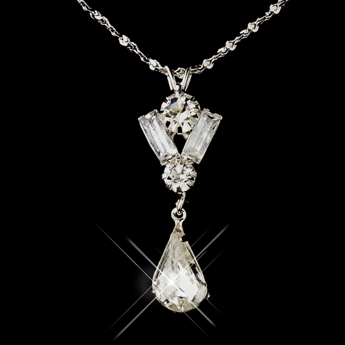 Silver Clear Teardrop & Round Rhinestone Necklace 9182***Discontinued***