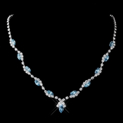 Silver Aqua Marquise & Clear Round Necklace 9341