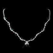 Silver Emerald Marquise & Clear Round Necklace 9341