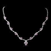 Silver Light Amethyst Marquise & Clear Round Necklace 9341