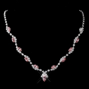 Silver Pink Marquise & Clear Round Necklace 9341