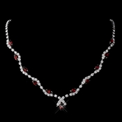 Silver Ruby Marquise & Clear Round Necklace 9341