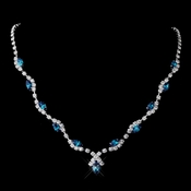 Silver Teal Marquise & Clear Round Necklace 9341