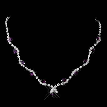Silver Amethyst Marquise & Clear Round Necklace 9341
